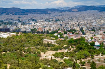 View on ancient agora and the temple of Hephaestus from Acropolis Athens Greece