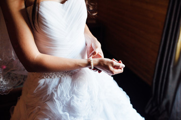 Wedding. Bride. Preparations. Dress.