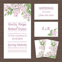 Set of wedding cards with sakura