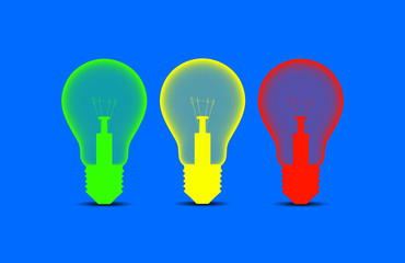 Colorful light bulbs on a blue background