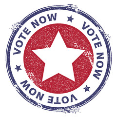 Grunge US patriotic stars rubber stamp. USA presidential election patriotic seal with US patriotic stars silhouette and Vote Now text. Rubber stamp vector illustration.