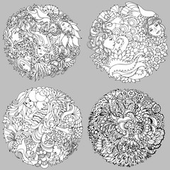 Set of floral decorative element with surreal female faces, leaves, waves, branches and flowers. Black and white vector illustration for coloring pages or other.