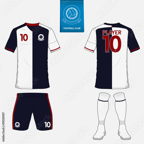 Set Of Football Kit Or Soccer Jersey Template For Club Flat Logo On Blue Label Front And Back View Uniform Arel Mock Up