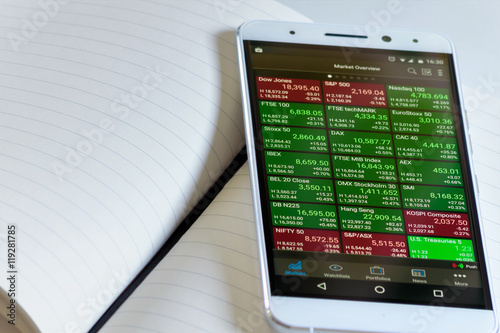 Stock market on smart mobile phone  Mobile phone on the