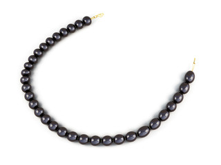 Black pearl beads isolated on white background. 3d render image