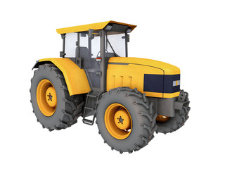 Yellow tractor isolated on white background
