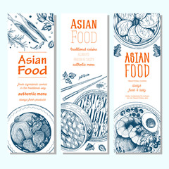Asian food banner set. Vector illustration of asian food banner collection. Linear graphic