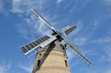Aluminium Prints Mills old wind mill blue cloudy sky