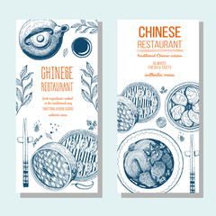 Asian food banner set. Chinese food flyer collection. Linear graphic