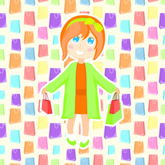 Girl with packages. Seamless pattern with multicolor paper bags. Sale background