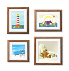 Realistic Minimal Isolated Wood Frame with Art Scene on White Background for Presentations. Vector Elements.