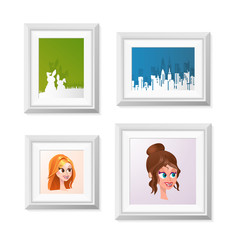 Realistic Minimal Isolated White Frame with Art Scene on White Background for Presentations. Vector Elements.