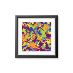 Realistic Minimal Isolated Black Frame with Abstract Art Scene on White Background for Presentations. Vector Elements.