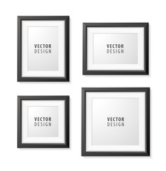 Set of Realistic Minimal Isolated Black Frame on White Background for Presentations. Vector Elements.