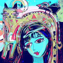 abstract digital painting of girl with a cat and bird on a head,