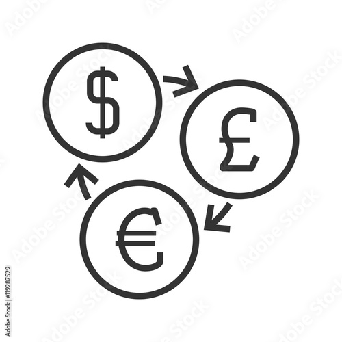 Currency Exchange Line Icon Dollar Pounds Sterling And Euro