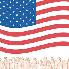 Happy Independence Day greeting card. 4th of July vector design element. Independence Day background. Crowd of people and waving US flag