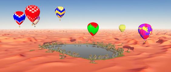 Heißluftballone über einer Wüstenoase
