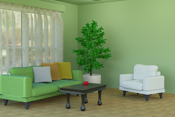 3D rendering of a green living room with a sofa