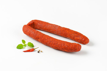 Spicy smoked Hungarian sausages