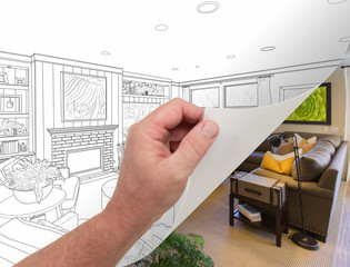 Hand Turning Page of Custom Living Room Photograph to Drawing