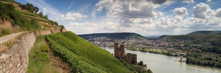 Panorama der Burg Ehrenfels, Rüdesheim, Hessen, Deutschland