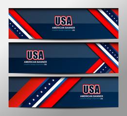 USA Flag Color Banner Backgrounds, vector illustration