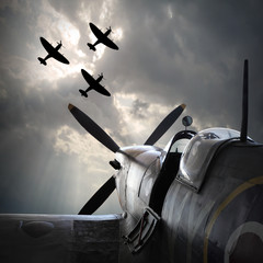 The Fighter planes. Digital artwork on second world war theme. On memory Battle of Britain anniversary.