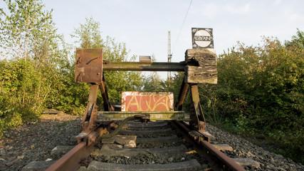 Bahnschienenende mit Prellbock