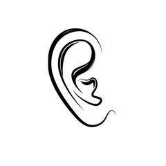 Ear engraving icon. Human ear isolated over white background