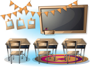 cartoon vector illustration interior classroom object with separated layers