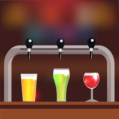 Bar counter with crane and three glasses of beer or cider. Vector illustration, background with place for your text