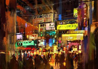 crowd of people in night street,illustration painting Fotomurales