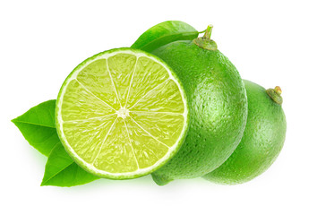 Isolated cut limes over white background with clipping path