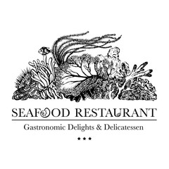 Seafood restaurant and seafood menu identity - Logo with coral reef and underwater flora. Corals, polyps, seaweed and deep water plants.  Vector Illustration