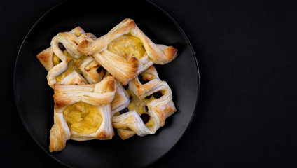 Danish puff pastry flowers and diamonds with vanilla pastry crea
