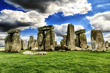 Stonehenge England.The mysterious and ancient Unesco World Heritage Site at Salisbury Plain, UK, England. Massive standing megalith stones. Wall mural