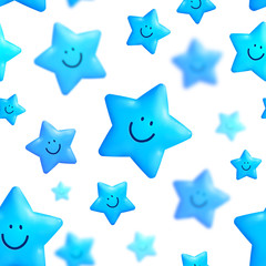 Happy blue stars vector seamless pattern