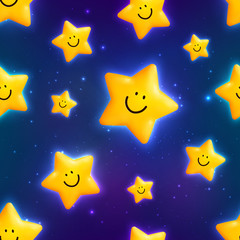 Happy yellow cosmic stars seamless pattern