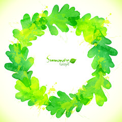 Green watercolor oak leaves vector wreath