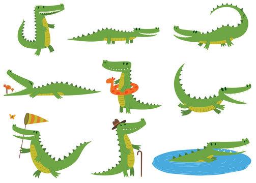 Crocodile character vector set.