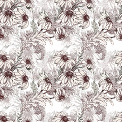 Beautiful Watercolor Summer Garden Blooming Flowers Seamless Pattern.