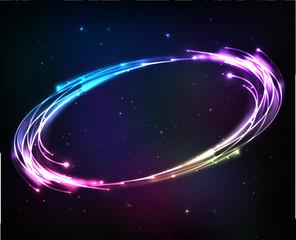 Shining neon lights cosmic abstract frame