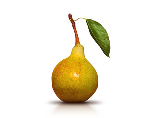 juicy and ripe green pear with leaf on the stalk - a photo isolated
