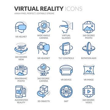Line Virtual Reality Icons