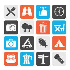 Silhouette Camping, tourism and travel icons - vector icon set