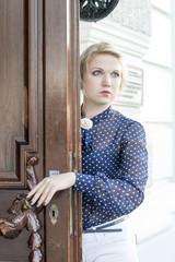 NIZHNY NOVGOROD, RUSSIA SEPTEMBER 09, 2015: Xenia Abdullin posing at the Mansion the Rukavishnikov. Nizhny Novgorod.