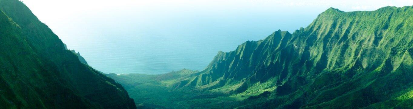 Panorama of the jagged cliffs in Kalalau Valley on the Na Pali Coast, Kauai, Hawaii
