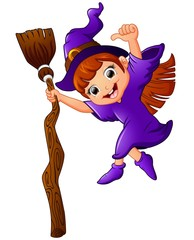 little witch cartoon holding broom and giving thumb up
