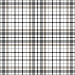 Seamless tartan plaid pattern. Twill texture in  black, gray & brown on white background.